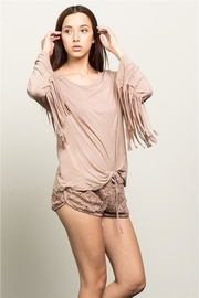 People Outfitter Beige Stonewashed Fringe Top - Side cropped