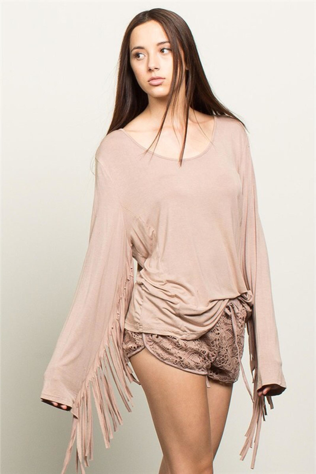 People Outfitter Beige Stonewashed Fringe Top - Main Image