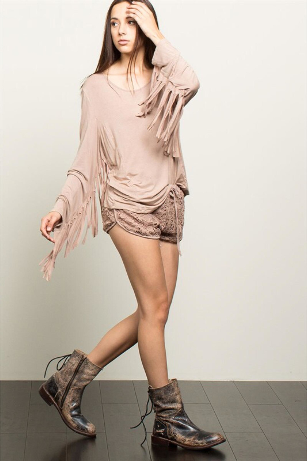 People Outfitter Beige Stonewashed Fringe Top - Front Full Image