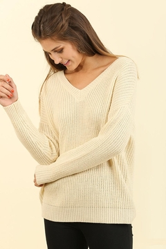 People Outfitter Beige Tie Back Sweater - Alternate List Image