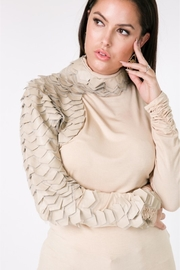 People Outfitter Beige Turtleneck Vegan Leather Top - Product Mini Image