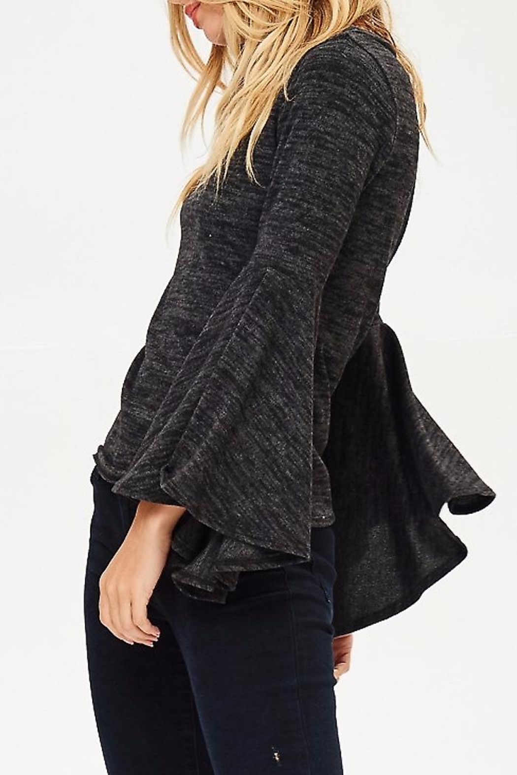 People Outfitter Bell Sleeve Sweater - Front Full Image