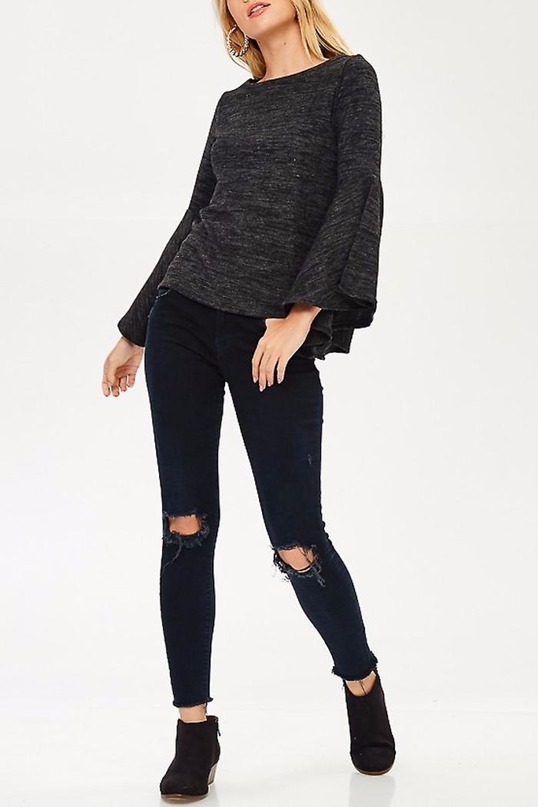 People Outfitter Bell Sleeve Sweater - Back Cropped Image