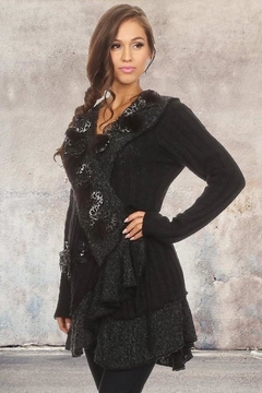 People Outfitter Black Bohemian Ruffled Wool Sweater Coat - Product List Image