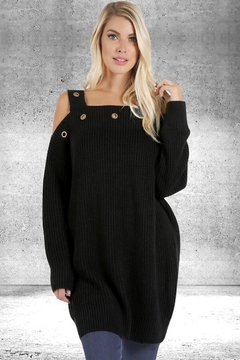 People Outfitter Black Cold Shoulder Tunic Sweater - Alternate List Image