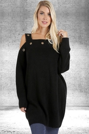 People Outfitter Black Cold Shoulder Tunic Sweater - Product Mini Image
