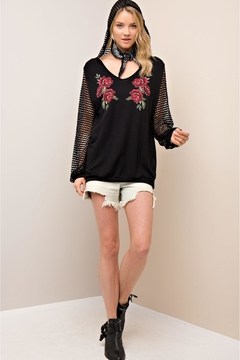 People Outfitter Black Fishnet Sleeves Pullover - Product List Image