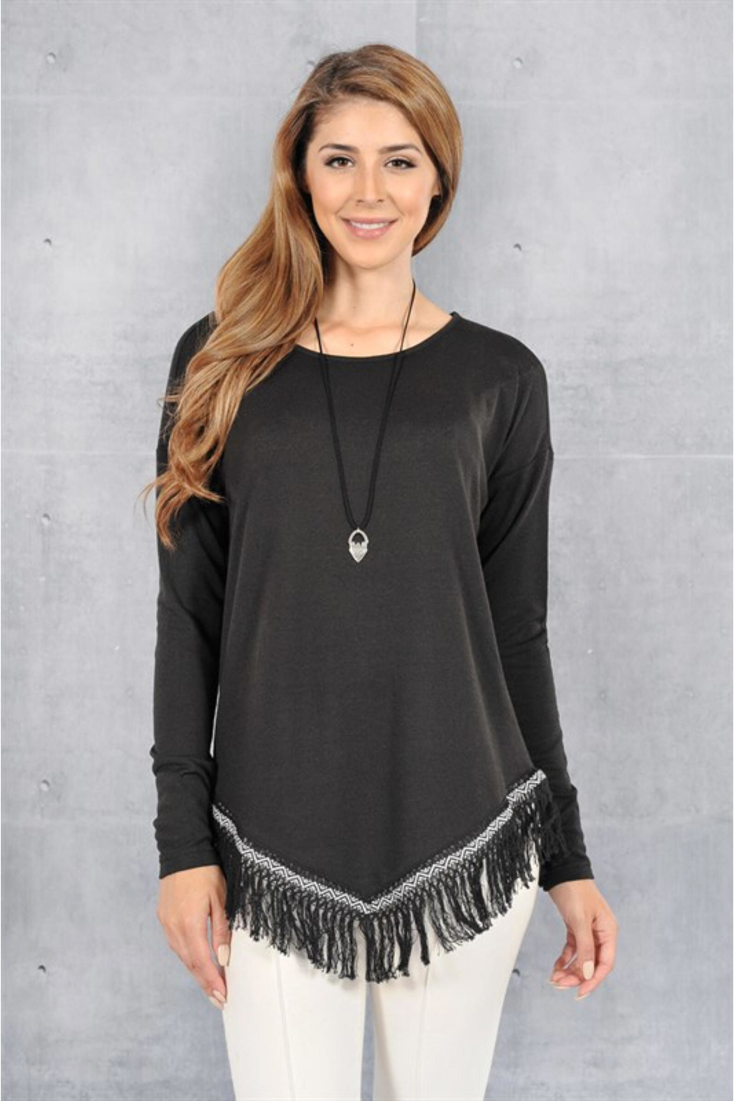 People Outfitter Black Fringe Hem Sweater - Front Cropped Image
