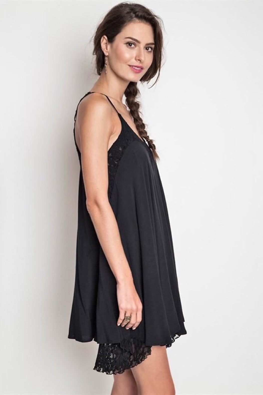 People Outfitter Black Lace Dress - Front Full Image