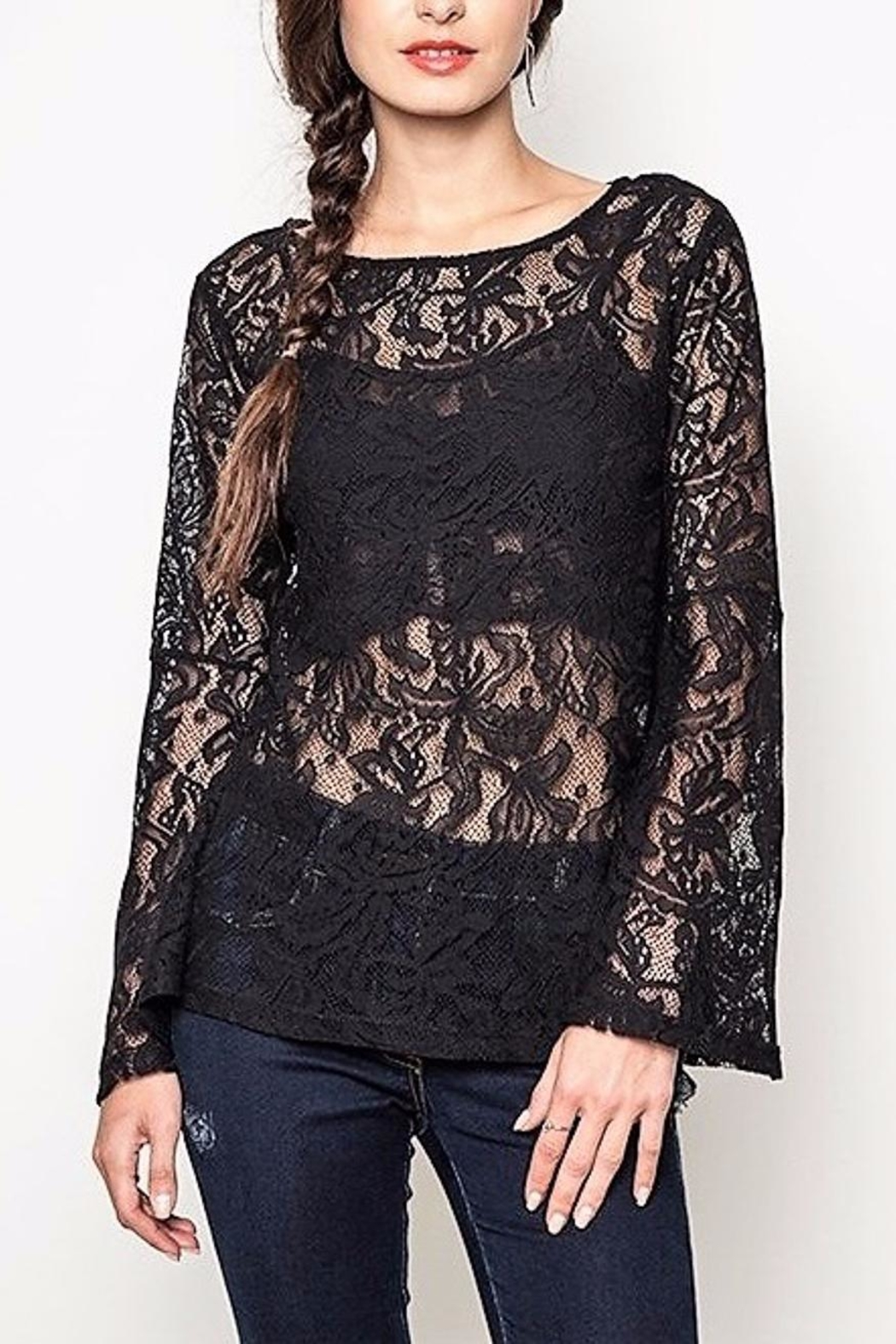 People Outfitter Black Lace Top - Front Full Image