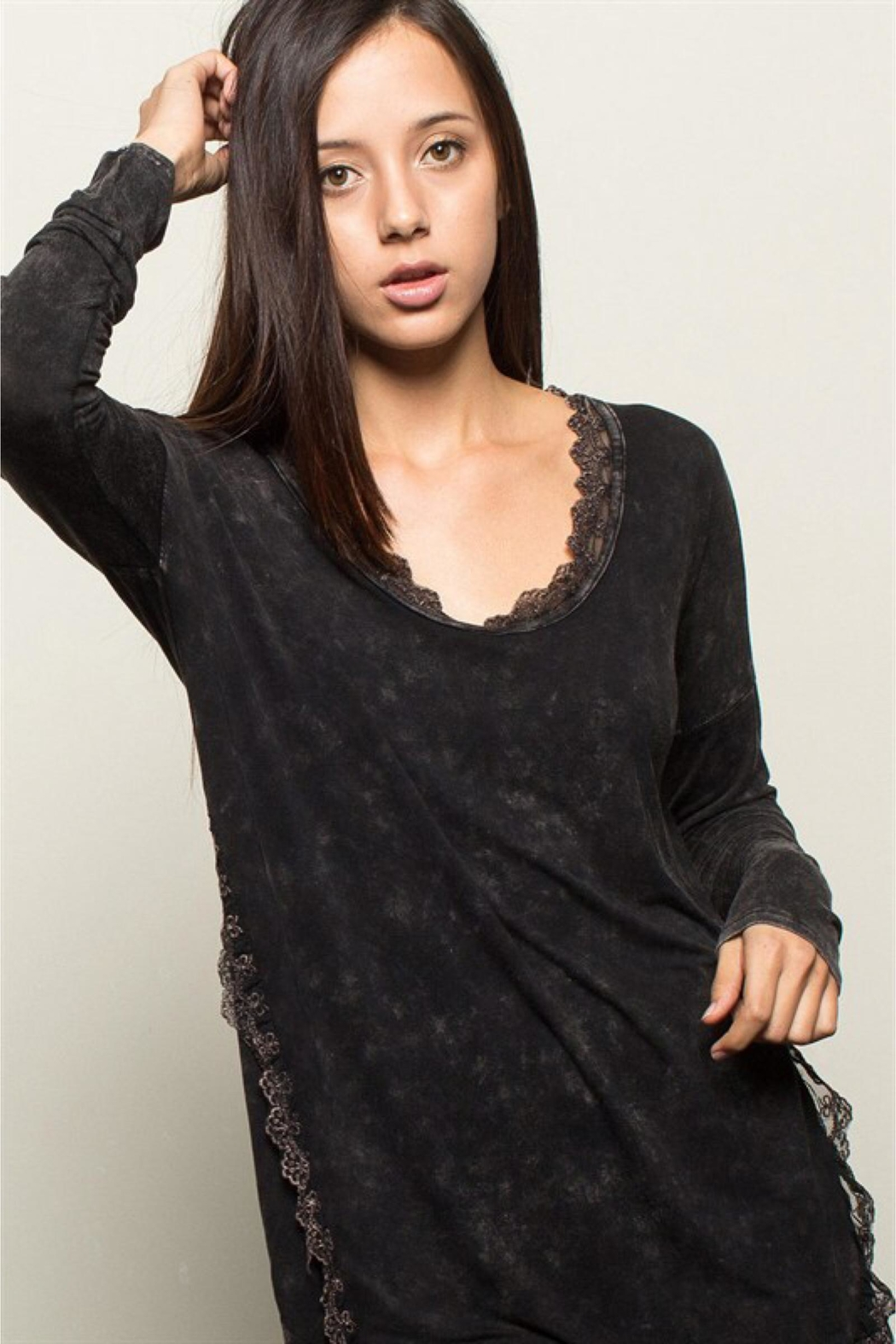 People Outfitter Black Stonewashed Tunic Top - Front Full Image