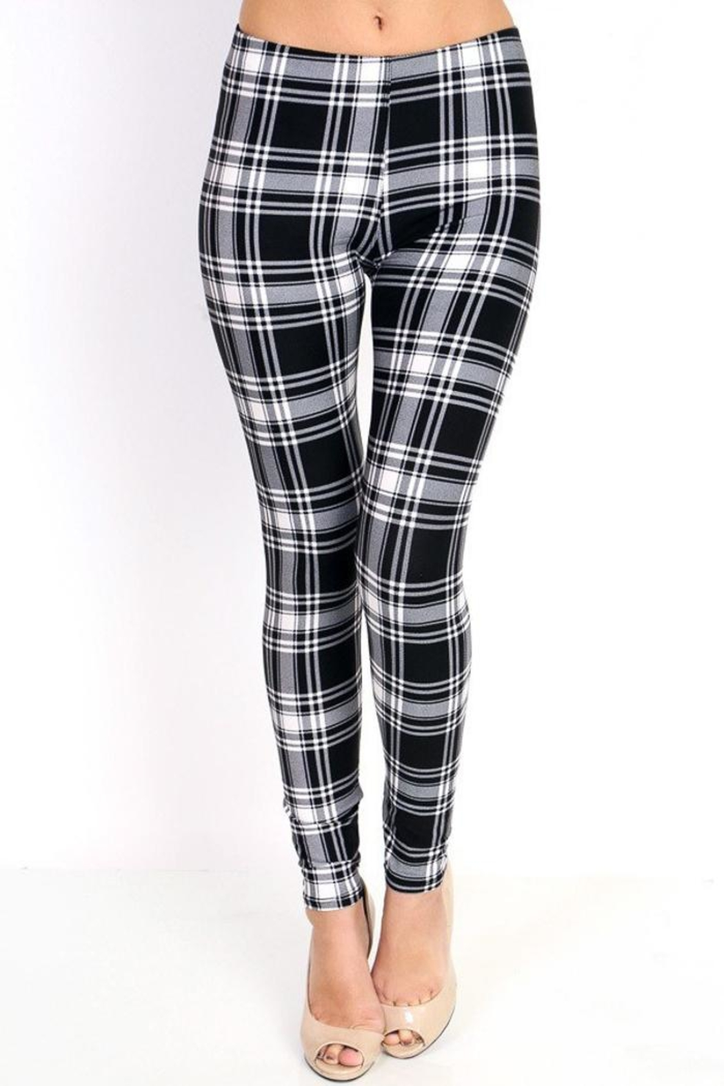 People Outfitter Black&White Plaid Leggings - Main Image