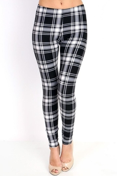 Shoptiques Product: Black&White Plaid Leggings