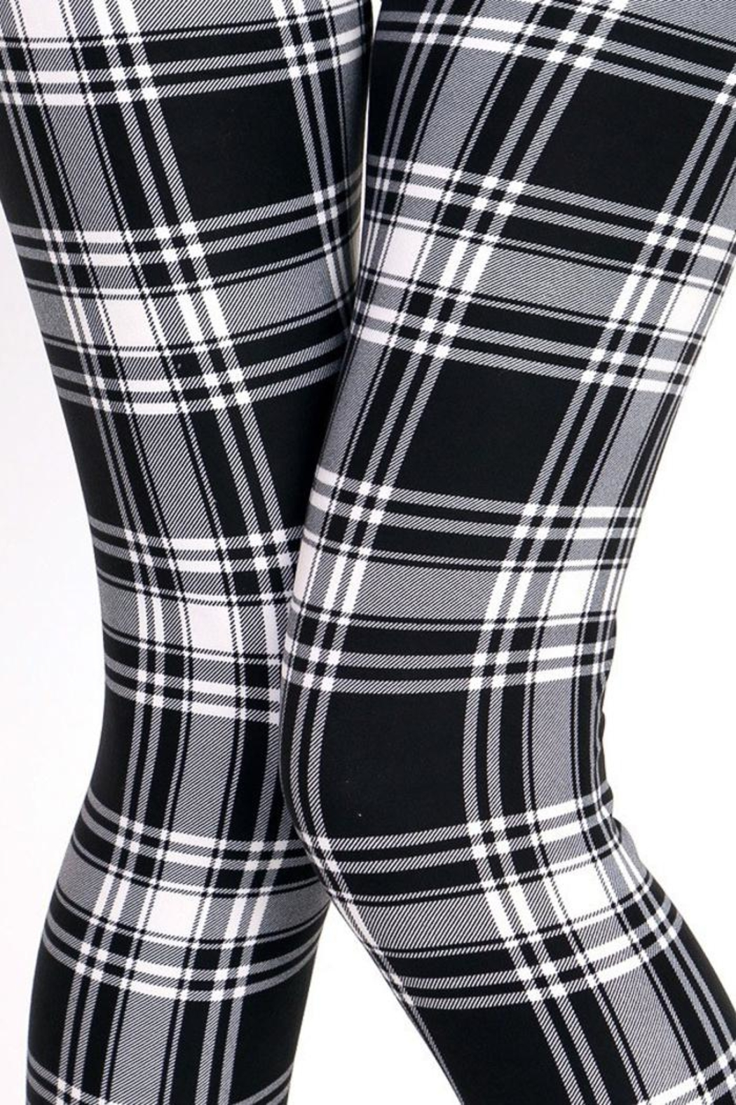 People Outfitter Black&White Plaid Leggings - Front Full Image