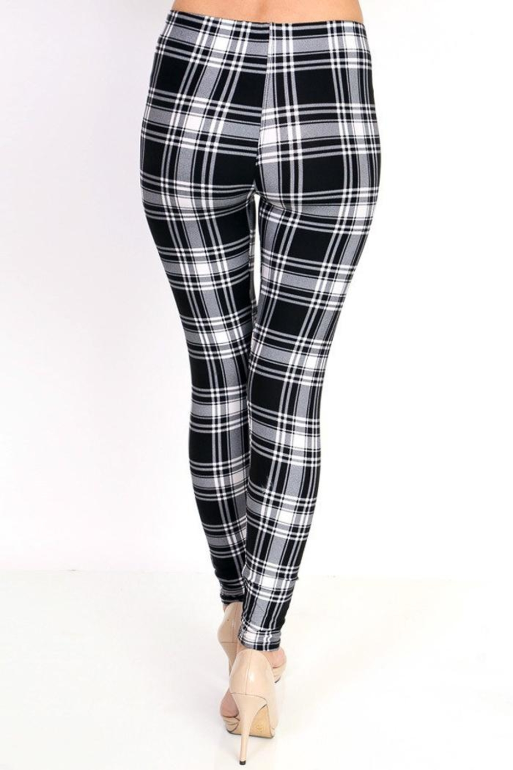 People Outfitter Black&White Plaid Leggings - Side Cropped Image