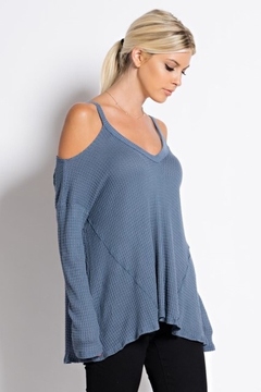 People Outfitter Blue Cold Shoulder Thermal Tunic Top - Product List Image