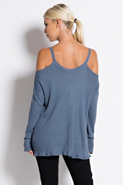 People Outfitter Blue Cold Shoulder Thermal Tunic Top - Alternate List Image