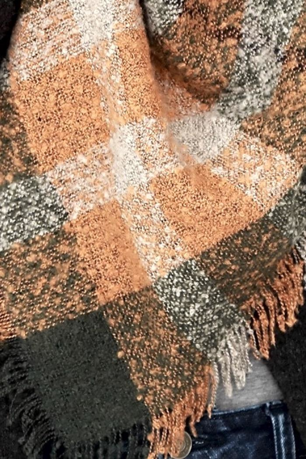People Outfitter Boucle Olive Rust Plaid Oversized Scarf - Front Full Image