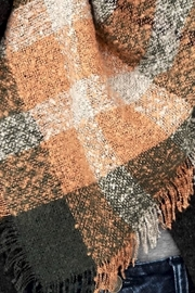 People Outfitter Boucle Olive Rust Plaid Oversized Scarf - Front full body