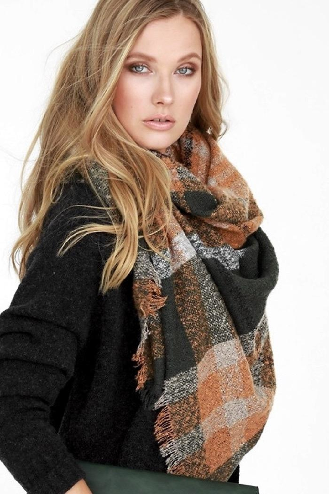 People Outfitter Boucle Olive Rust Plaid Oversized Scarf - Main Image