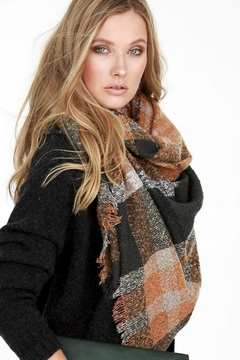 People Outfitter Boucle Olive Rust Plaid Oversized Scarf - Product List Image