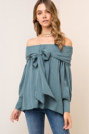 People Outfitter Bow-Tie Blue Top - Product Mini Image