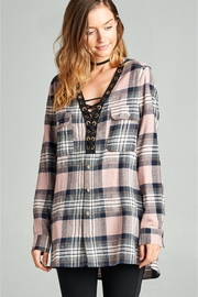 People Outfitter Boyfriend's Plaid Crisscross Tunic Top - Product Mini Image