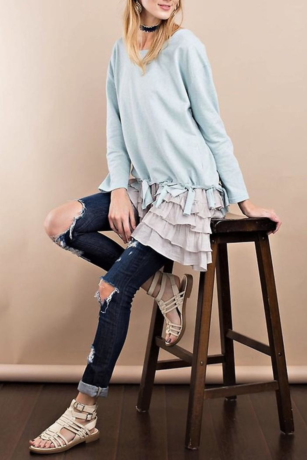 People Outfitter Braided Pullover Top - Side Cropped Image