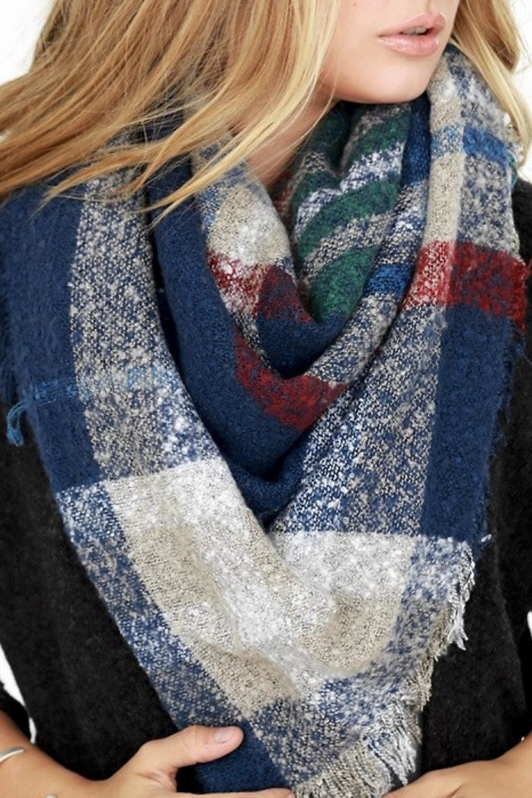 People Outfitter Brushed Plaid Scarf - Front Full Image