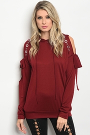 People Outfitter Burgundy Cut Out Sweatshirt - Product Mini Image