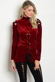 People Outfitter Burgundy Velvet  Top - Product Mini Image