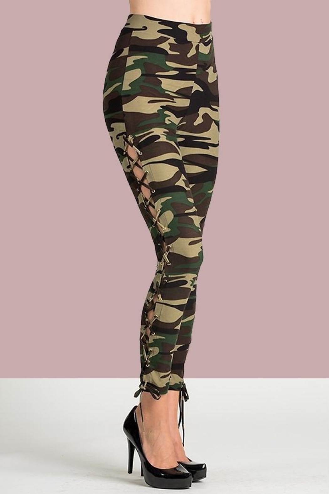 People Outfitter Camo Lace-Up Pants - Main Image