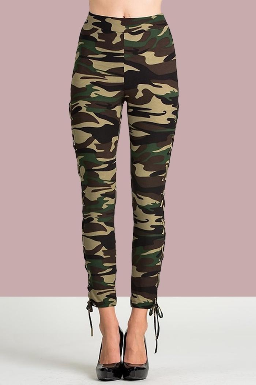 People Outfitter Camo Lace-Up Pants - Front Full Image