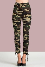 People Outfitter Camo Lace-Up Pants - Front full body