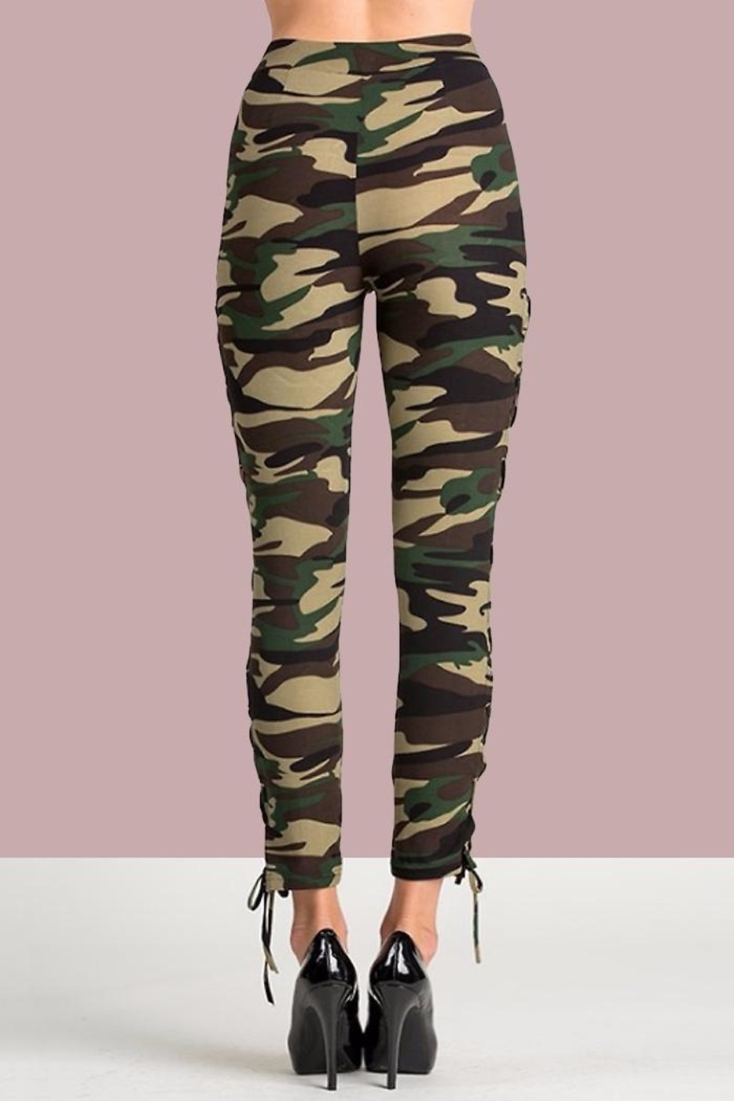 People Outfitter Camo Lace-Up Pants - Side Cropped Image