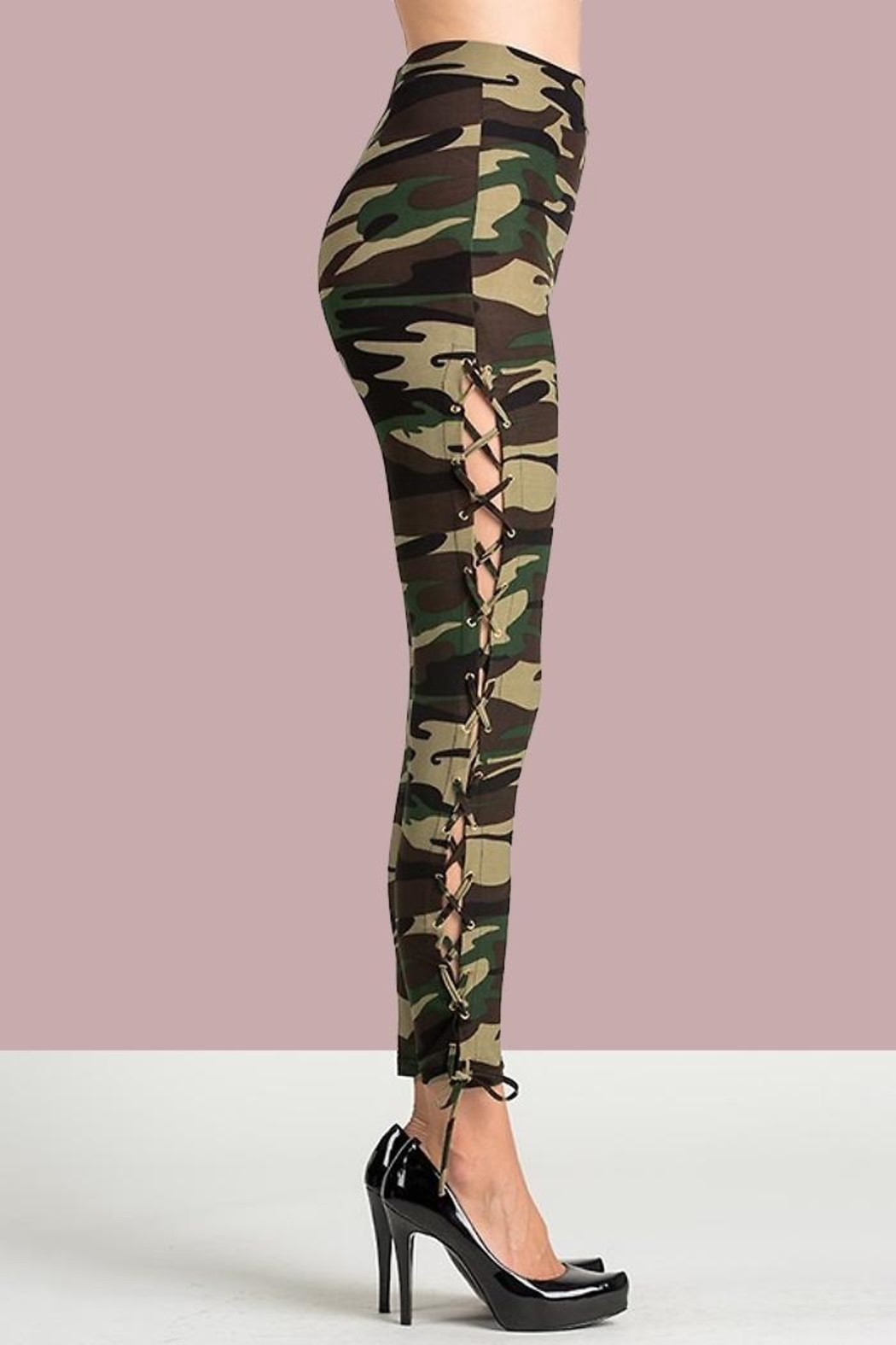 People Outfitter Camo Lace-Up Pants - Back Cropped Image