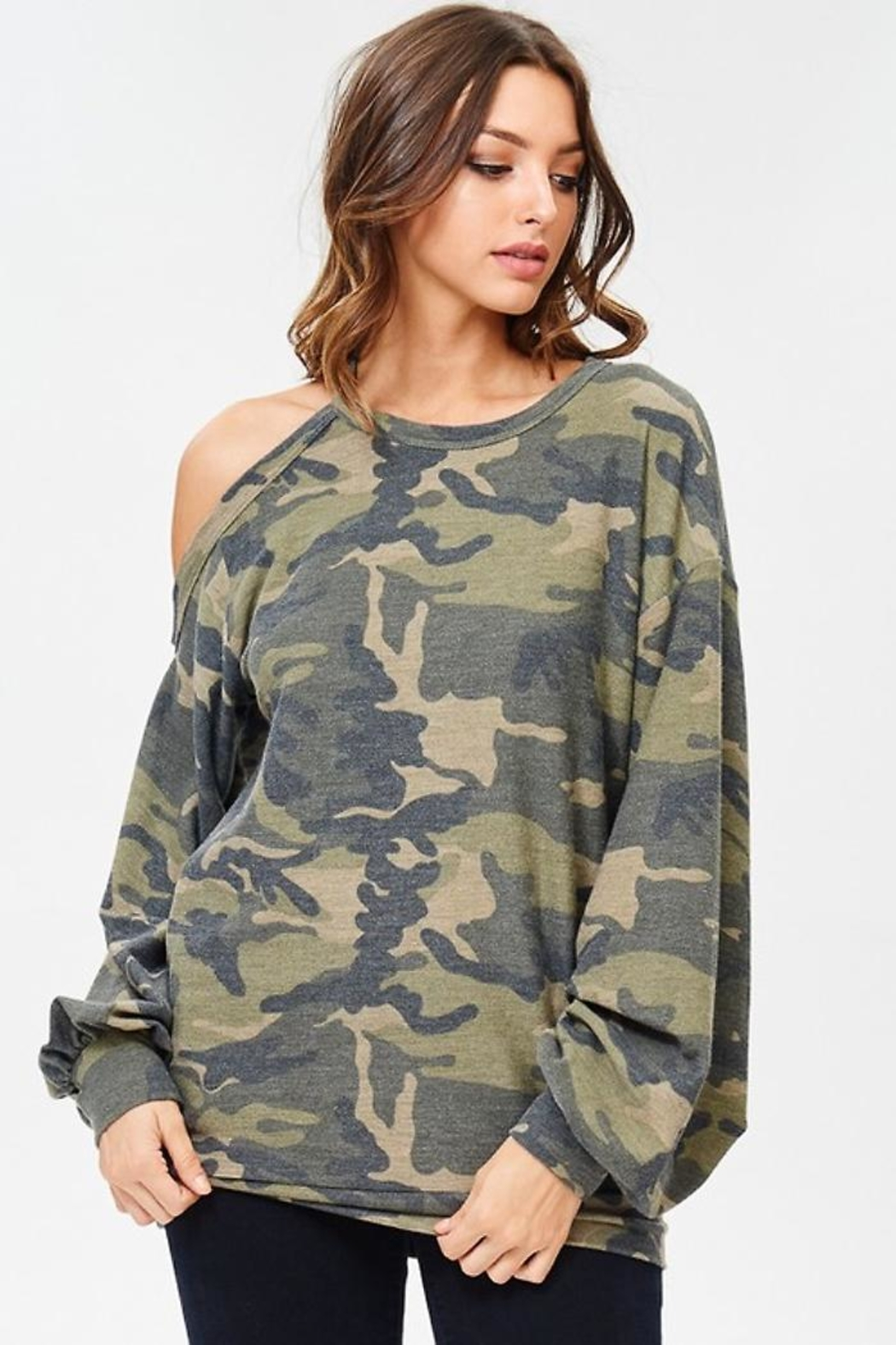 People Outfitter Camo Stay Pullover - Side Cropped Image