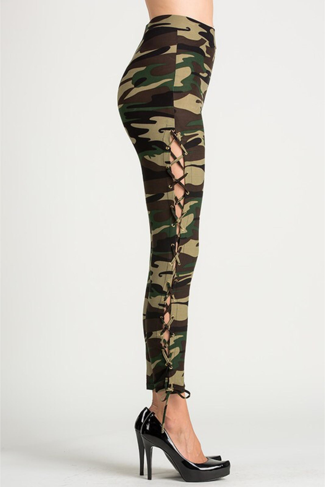 People Outfitter Camouflage Lace-Up Leggings - Front Full Image