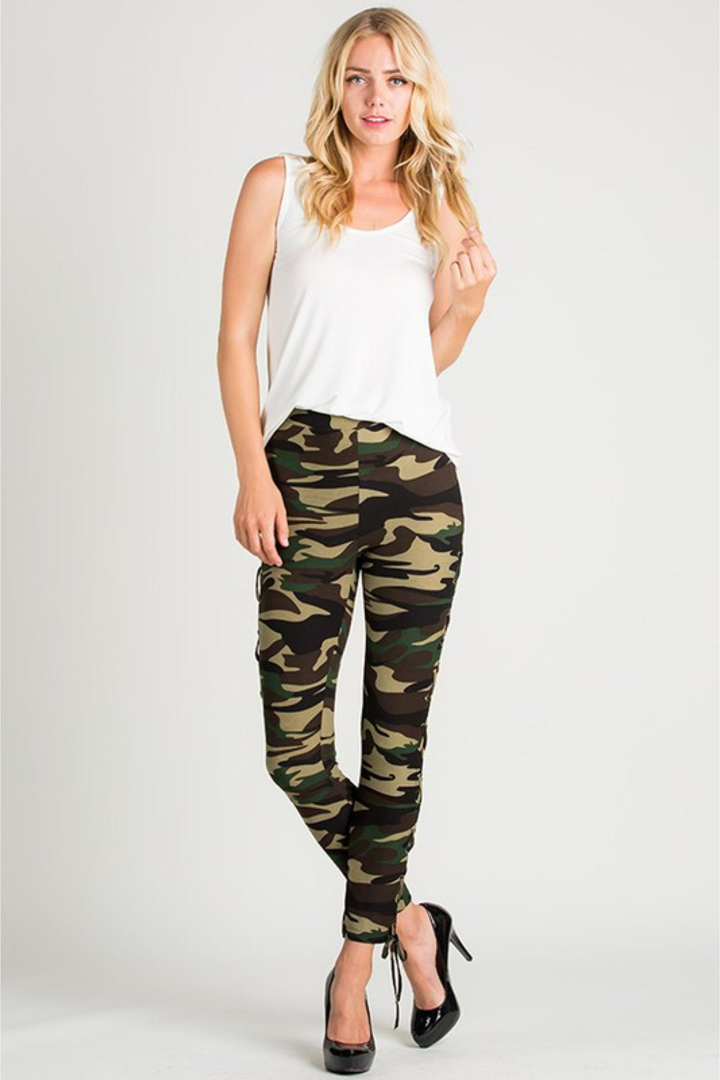 People Outfitter Camouflage Lace-Up Leggings - Main Image