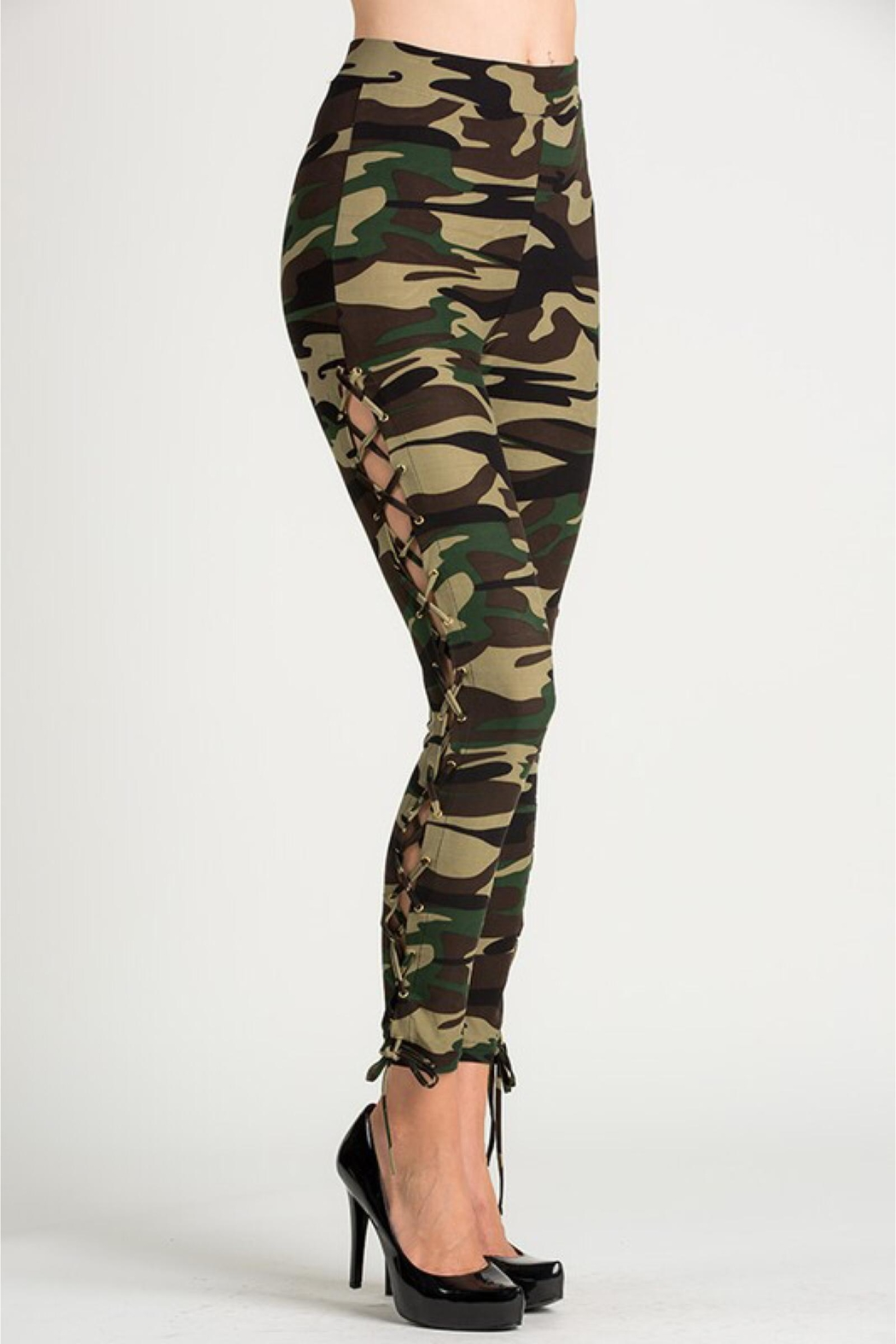 People Outfitter Camouflage Lace-Up Leggings - Side Cropped Image
