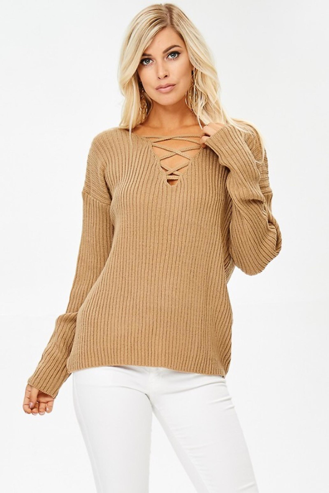 People Outfitter Caramel Crisscross Ribbed Sweater - Main Image