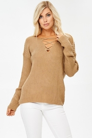 People Outfitter Caramel Crisscross Ribbed Sweater - Product Mini Image