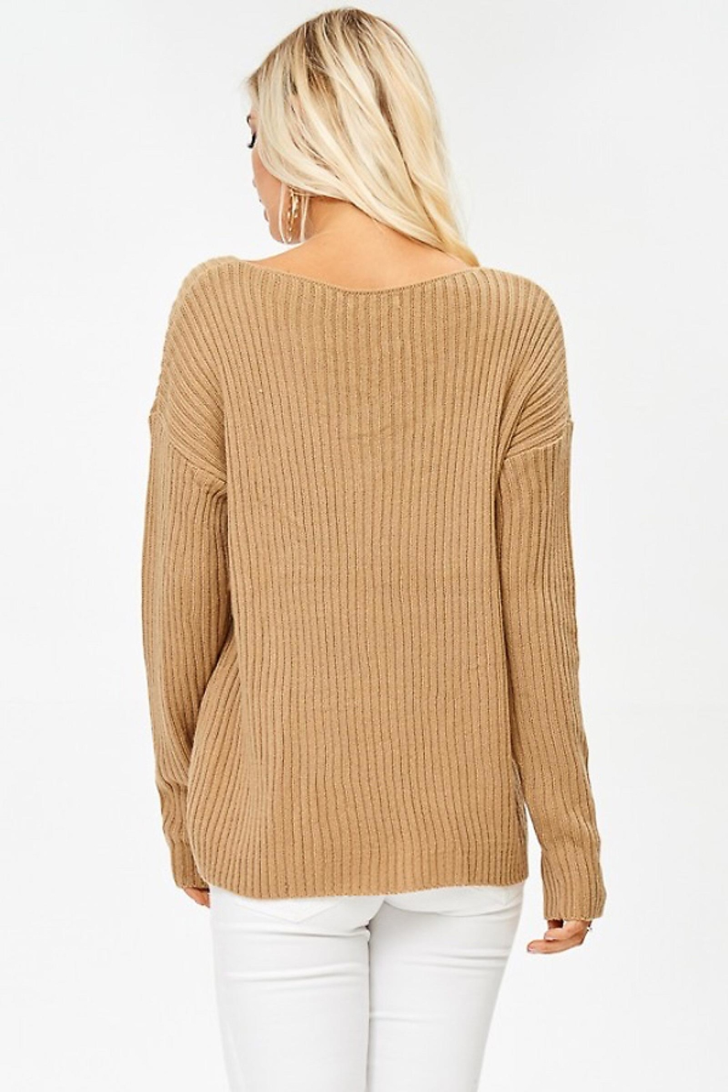 People Outfitter Caramel Crisscross Ribbed Sweater - Front Full Image