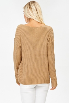 People Outfitter Caramel Crisscross Ribbed Sweater - Alternate List Image