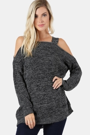 People Outfitter Charcoal Cold Shoulder Sweater - Front cropped