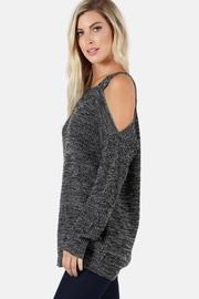 People Outfitter Charcoal Cold Shoulder Sweater - Front full body