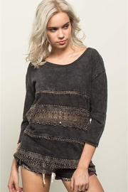 People Outfitter Charcoal Grey Crochet Sweatshirt - Product Mini Image