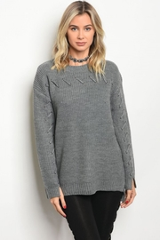 People Outfitter Charcoal Grey Lace Up Sweater - Product Mini Image
