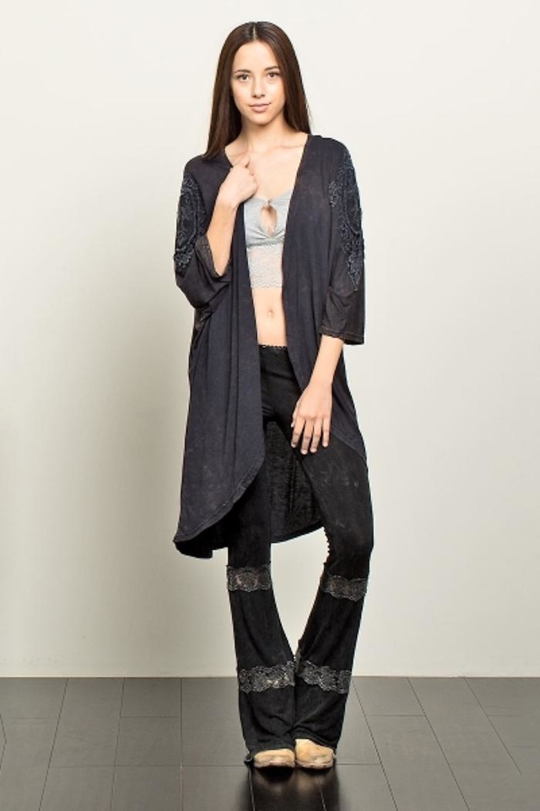 People Outfitter Crochet Distressed Top - Front Full Image