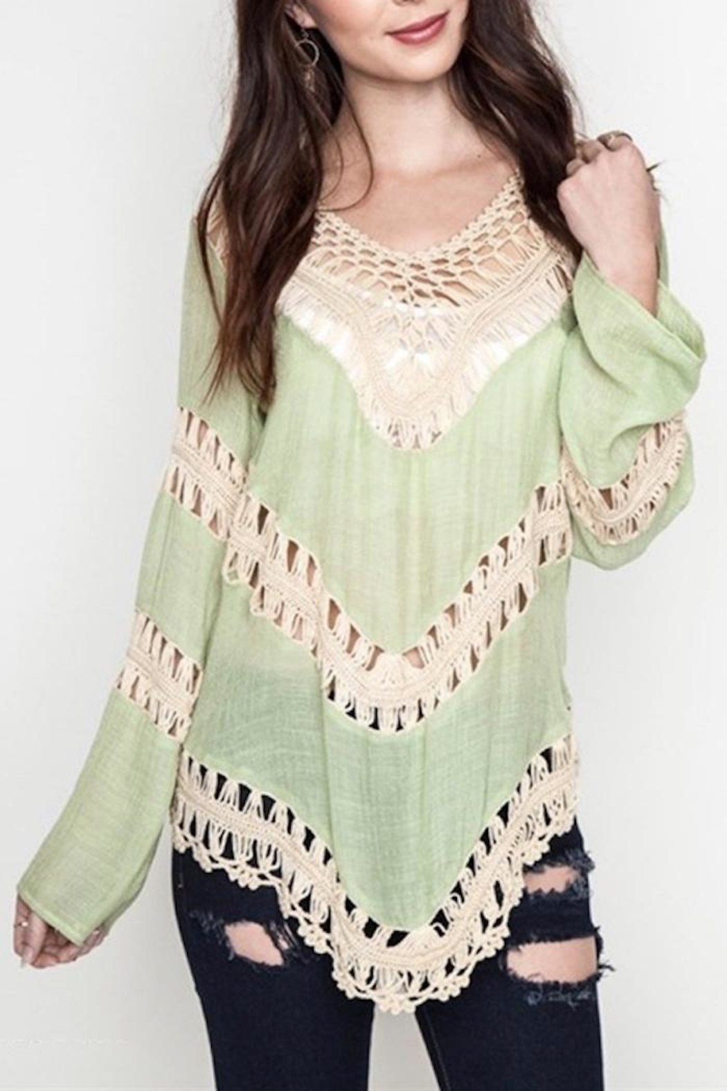 People Outfitter Crochet Festival Top - Front Full Image